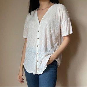 Cream v neck ribbed blouse